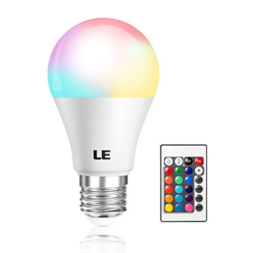 LE RGB LED Light Bulb, A19 E26 6W RGBW Color Changing Light Bulbs with Remote Control, Memory Function Dimmable LED Bulbs for Home Decor, Stage, Party -
