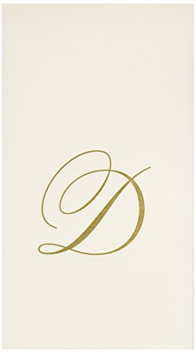 Entertaining with Caspari White Pearl Paper Linen Guest Towels, Monogram Initial D, Pack of 24