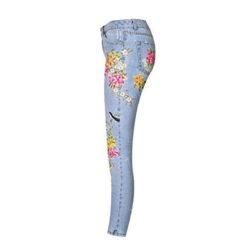 Dchir Droit Clair Bleu Haute Dcontracte Denim Pants Broderie Taille Jeans Stroscopique Femme Pantalon Zhiyuanan Denim Baggy AqwHHp