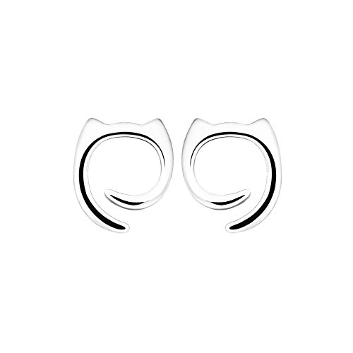 Oxidized Round Clip (Valentine's Day Gift 925 Sterling Silver Stud Cat Earrings Fine Jewelry for Women | Girls - by Perfect Eden)