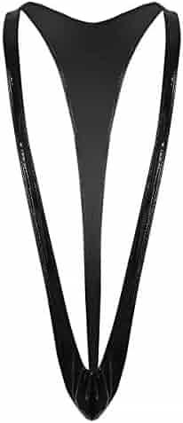 YiZYiF Mens PVC Wet Look Leather Jockstrap Leotard Underwear Singlet Sling Thongs