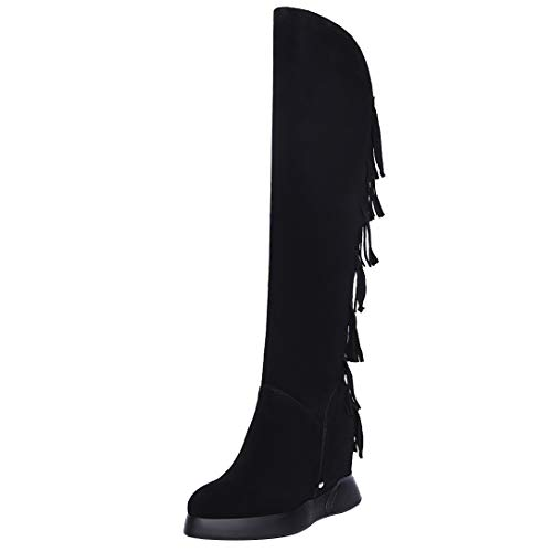 Tassels ELEHOT Toe Boots Black high Eleclock Knee Round Heel Leather Wedge Womens zwC6czqf
