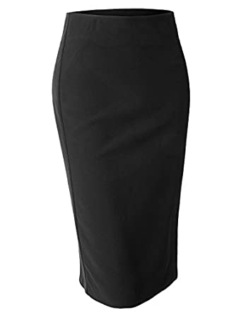 LE3NO Womens High Waisted Pencil Midi Skirt with Stretch at Amazon ...