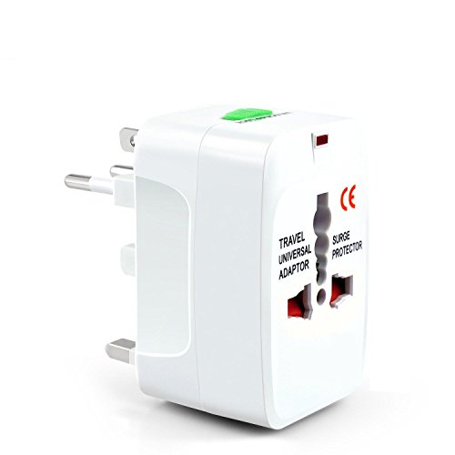 13 Amp Led Work Light (All in One Universal Travel Wall Adapter AC Power Au Uk Us Eu Plug Adapter White Kit 110 250 V 6 13 Amp Surge Protector 150 Countries Secure Safety Protect Portability Light weight)