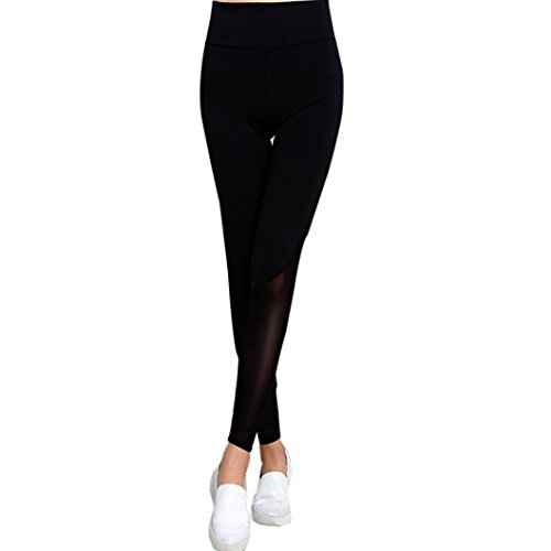HARRYSTORE Mujeres Deportes de yoga Running fitness Pantalones Danza Cropped Leggings High Waist Patchwork Pantalones Negro