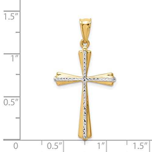 Tone Budded Cross (14k Two Tone Gold & Rhodium Plated D/C Budded Cross Pendant)