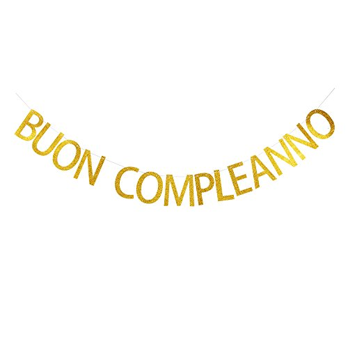 Buon Compleanno Banner, Italian Happy Birthday Sign, Gold Gliter Paper Garland by GRACE.Z