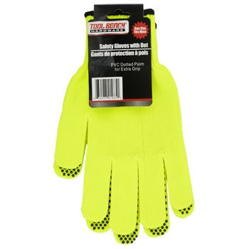 Safety Gloves with PVC Grip Dots - Yellow