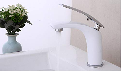 Makeyong Frap New Basin Faucet Water Tap Bathroom Faucet Solid White Brass Cold & Hot Water Single Handle Water Sink Tap Mixer