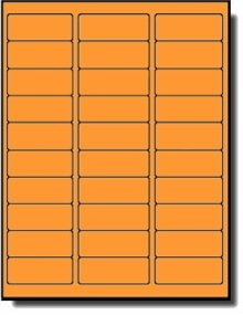 600 Label Outfitters® 2-5/8 x 1 Fluorescent Neon Orange Color Address Labels, 20 Sheets, use Avery® 5160 Template
