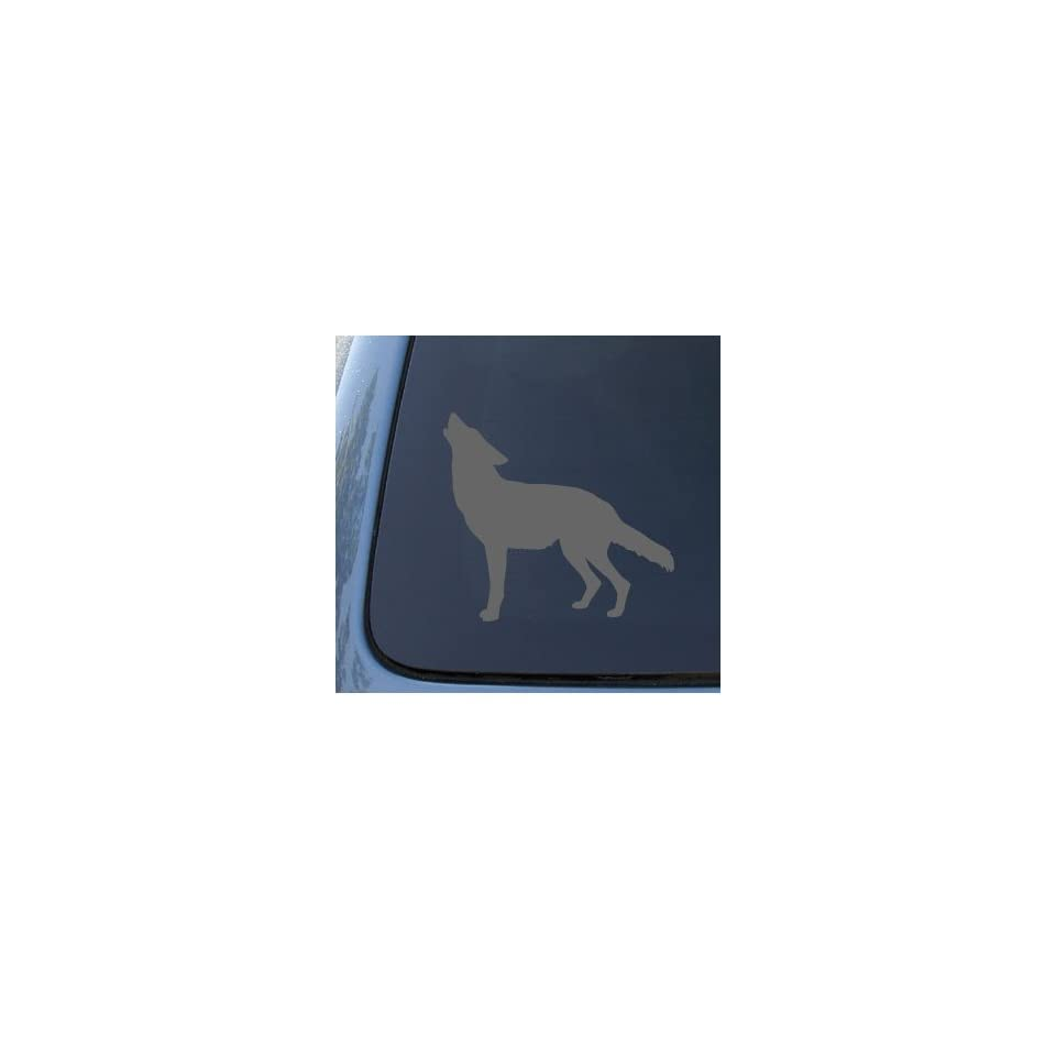 WOLF SILHOUETTE   Howling   Car, Truck, Notebook, Vinyl Decal Sticker #1184  Vinyl Color Silver