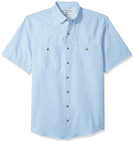 G.H. Bass & Co. Men's Big and Tall Explorer Short Sleeve Fishing Shirt Solid Button Pocket, Chambray Blue 1, 4X-Large