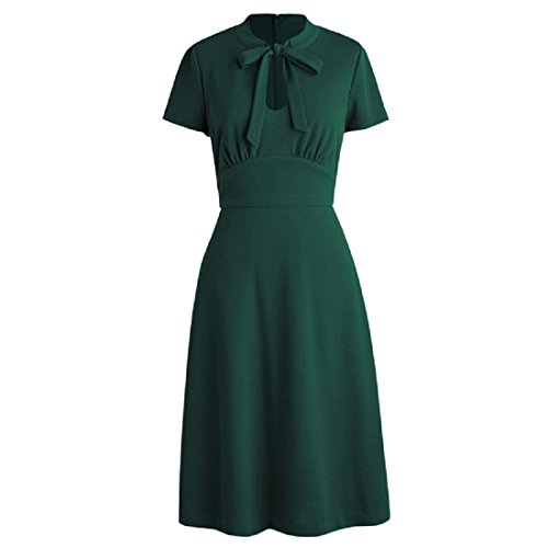 KUFEIUP Keyhole Bow Tie Front 30s 40s Vintage Dresses for Women Green XL