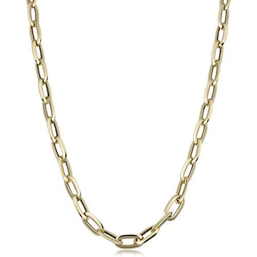Kooljewelry 14k Yellow Gold Oval Link Necklace (7 mm, 20 inch)