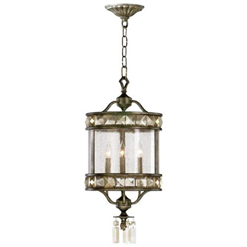 (English Palace 3 Light Crystal & Iron Entry Chandelier Old World)