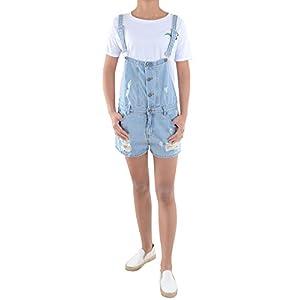 Anna-Kaci Women's Junoirs Casual Adjustable Distressed Pockets Short Bib Overalls