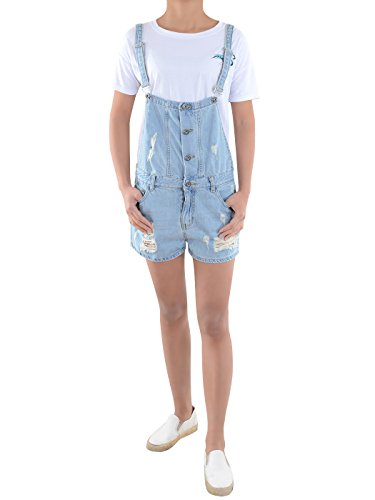 Anna-Kaci Womens Juniors Distressed Ripped Denim Jean Short Shortall Overalls, Blue, Medium