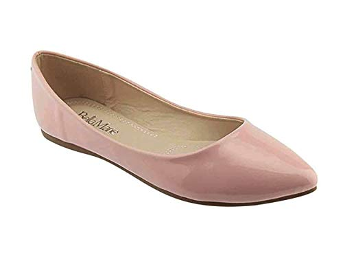 (Bella Marie Angie-53 Women's Classic Pointy Toe Ballet Slip On Flats Shoes Dusty Rose)