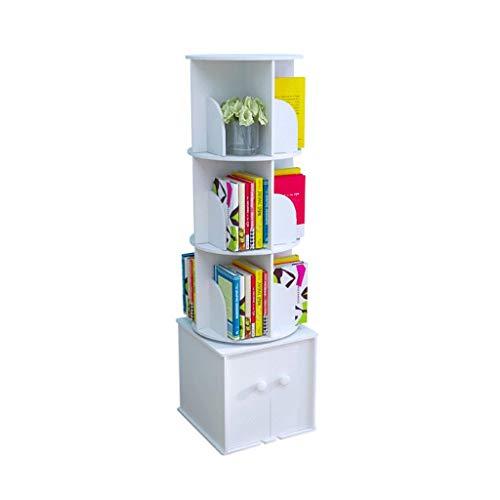Jiji Libreria Rotacion de Escritorio Estanteria de Suelo Economia Bastidores Simple Estudiante creativos for ninos armarios de Almacenamiento Estanteria Librero (Color : White)