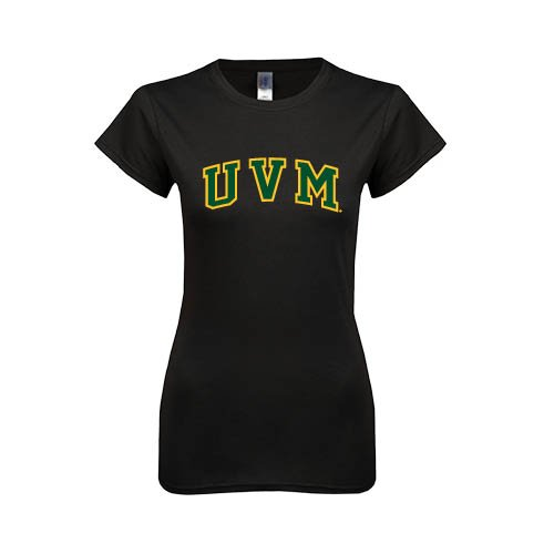 Vermont Next Level Ladies Softstyle Junior Fitted Black Tee 'Arched UVM'
