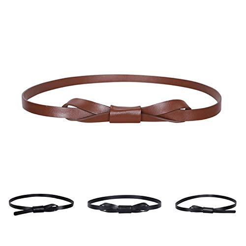 Women Adjustable Waist Belt for Dress, Fashion PU Leather Skinny Thin Belt for Jeans, Simple Retro Knotted Leather Narrow Belt, Black+Coffee, Suit Waist Size 26