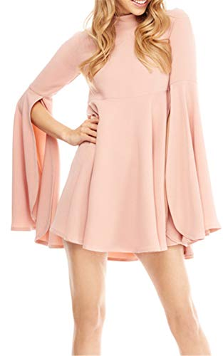 Sleeves Flared Mini Dress - High Mock Neck Bell Trumpet Flared Flare Sleeve Split Slit Highwaist Pleated Mini Swing Trapeze Maternity Dress Pink XL