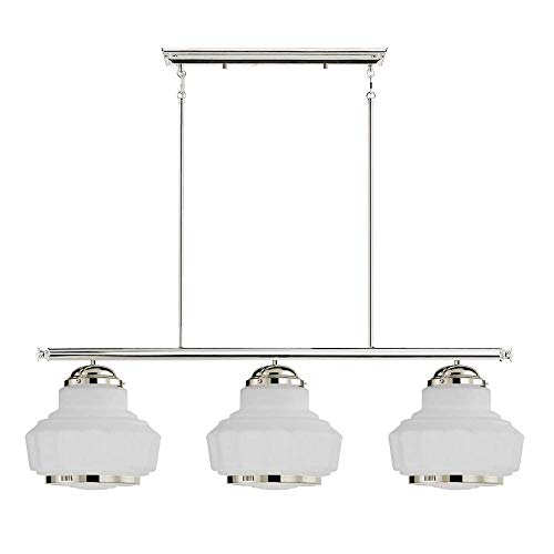 Langdon Mills 10409 Westport 3-Light Linear Schoolhouse Island Chandelier, Polished Nickel