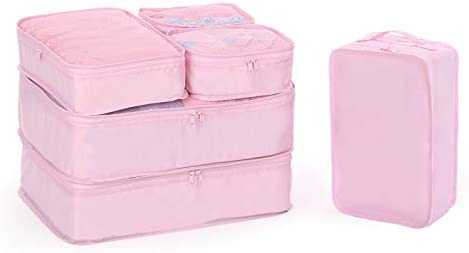 Mydio 6 Set Travel Luggage Packing Organizers Set,Travel luggage Suitcase Organizer Set Packs More in Less Space (pink)
