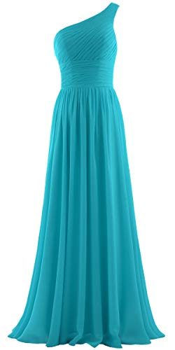 - ANTS Women's Pleat Chiffon One Shoulder Bridesmaid Dresses Long Evening Gown Size 14 US Jade