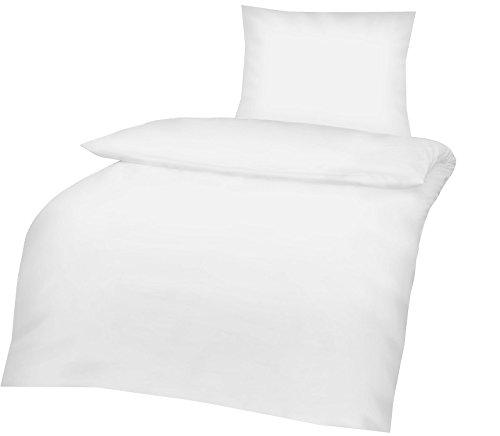 Optidream Renforcé Bettwäsche 4 teilig Bettbezug 135 x 200 cm Kopfkissenbezug 80 x 80 cm Uni weiß