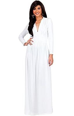 KOH KOH Womens Long Sleeve Vintage V-neck Fall Winter Formal Gown Maxi Dress