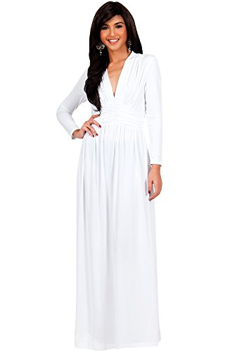 KOH KOH Womens Long Sleeve Vintage V-neck Fall Winter Formal Gown Maxi Dress