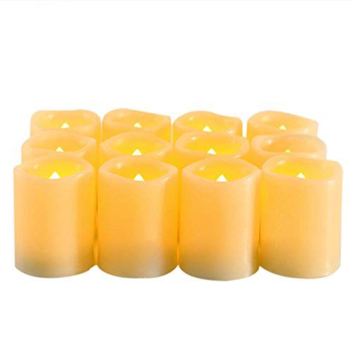 Battery Operated Flickering Flameless Candles – Set of 12 Ivory with Auto – Off Timer Tealight,SWEETIME Votive Led Candles for Weddings and Parties. by Sweetime (Image #7)