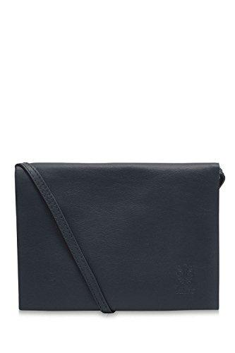Montte Di Jinne - 100% Soft Italian Leather Ladies Envelope Flap Shoulder Bag Navy