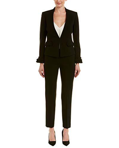 Tahari by Arthur S. Levine Women's Long Sleeve Pant Suit with Ruffle Trim Detail, Black, ()