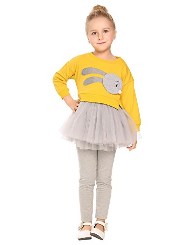 Price comparison product image Arshiner Infant Toddler Girls Long Sleeve Cartoon Rabbit Top Dress Casual Style Tutu Skirts Dress Outfits