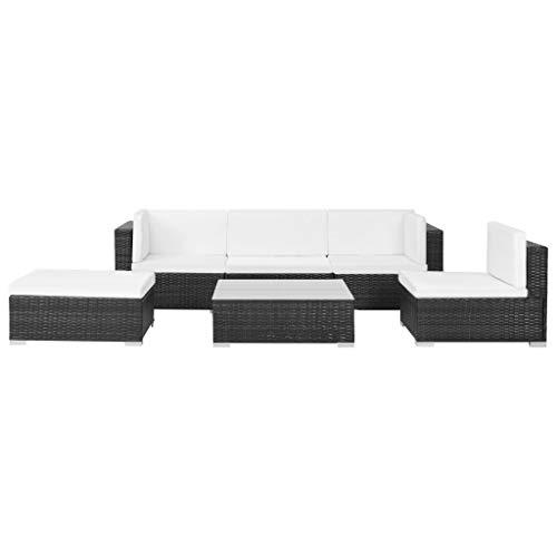 Festnight- Conjunto de Sofa Chaise Longue de Ratan Sintetico Conjunto de Muebles de Jardin 17 Piezas