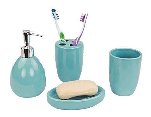 Elaine Karen Deluxe Ceramic Bathroom Vanity Accessory Set, Soap Dispenser Pump, Toothbrush Holder, Tumbler, Soap Dish - 4 Piece - Turquoise