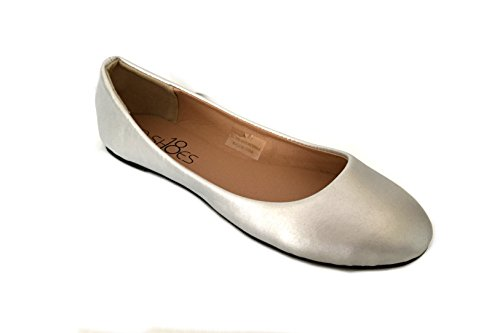 Shoes 18 Womens Ballerina Ballet Flat Shoes Solids & Leopards (11, Silver PU 8600) ()