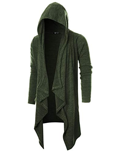 GIVON Mens Long Sleeve Draped Lightweight Ruffle Shawl Collar Cardigan Hooded Cardigan with - Scarf Wear Mens