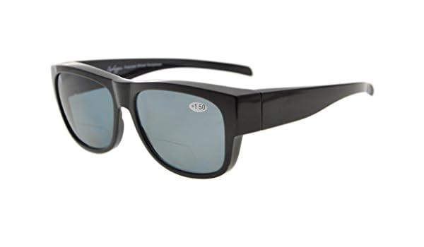 da3cb37cca Eyekepper Fitover policarbonato polarizado gafas de sol bifocales lectores  para usar sobre gafas regulares (Negro/Gris Lentes, 1.50): Amazon.es: Salud  y ...