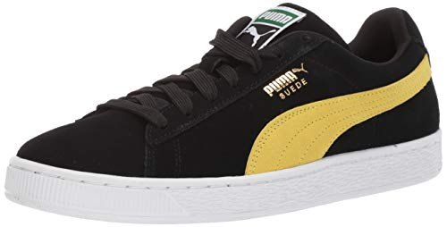 PUMA Men's Suede Classic Sneaker Black-Blazing Yellow, 7 M US (Best Puma Shoes For Men)