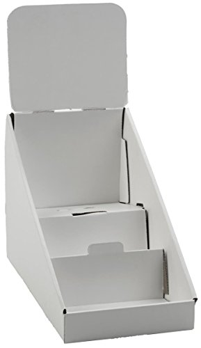 3-Tiered CD/DVD Racks for Tabletop Use, Includes Removable Header, Cardboard (White) - Set of 25