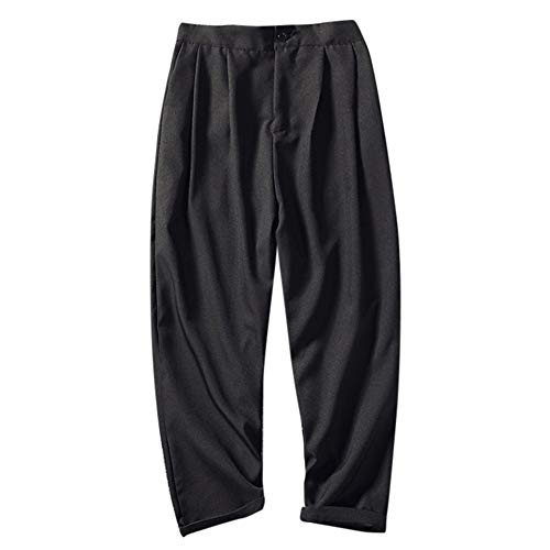 In Elastici Harem Da Slim Unita Per Larghi Uomo pantaloni Landfox Casual Perfetti Pezzi Elegante Lino Pantaloni Fit Cotone Tinta Nove Nero Sportivi U7xR8xn
