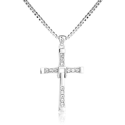 BODYA Man Dominic Toretto Inspired Fast Cz Zircon Crystal Cross Pendant Necklace Link Box Chain Cool]()