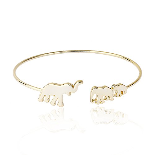 MANZHEN Mom and Baby Elephant Cuff Bangle Animal Family Charm Bracelet (gold)