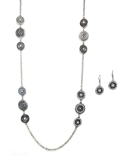 [Silvertone Filigree and Crystal Medallion Long Fashion Necklace and Earring Set] (1800s Dresses Costumes)