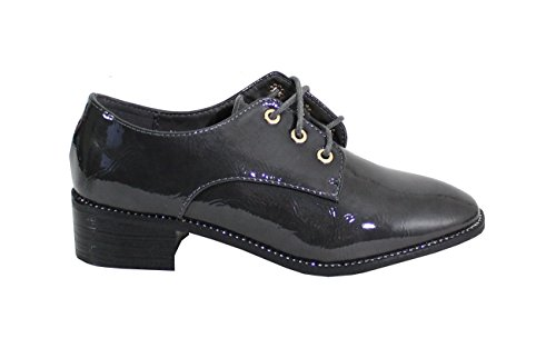 Femme Derbies Style Shoes Vernis Plate By Gris H6SX4q5