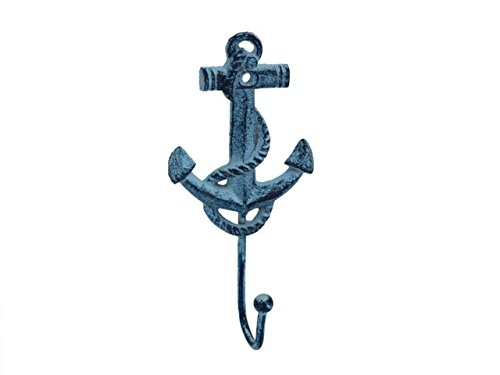 Hampton Nautical  Rustic Dark Blue Whitewashed Decorative Cast Iron Anchor Wall Hook, 7