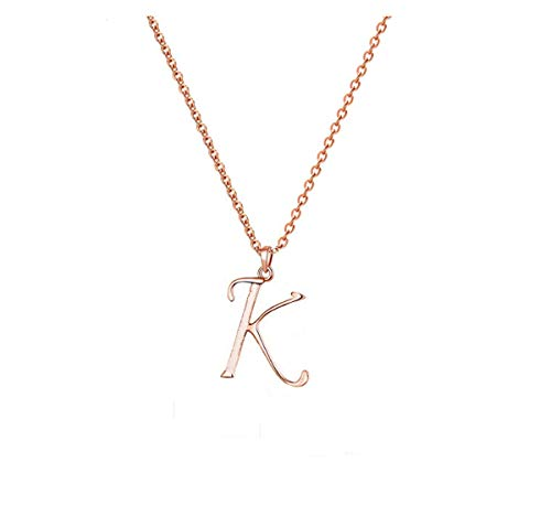 REEBOOO Personalized Initial Necklace Bridesmaid Jewelry Letter Necklace Graduation Gift for Her (Rose Gold-K)